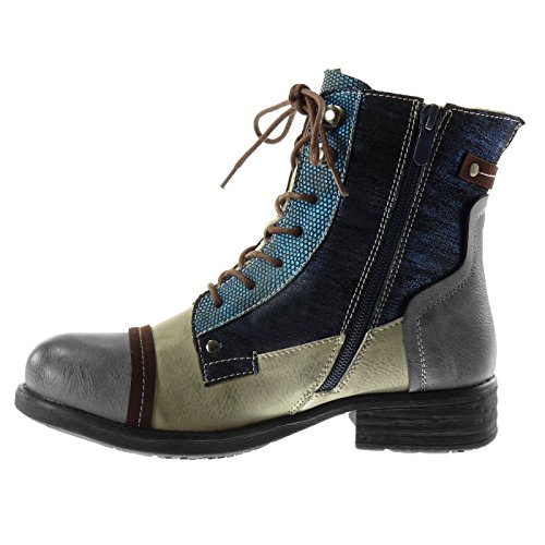 Angkorly Women's Fashion Shoes Ankle Boots - Booty - Combat Boots - Biker - Snakeskin - Studded - Shiny Block Heel 3 cm Blue whO55R