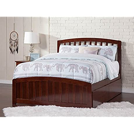 Panel Bed With Matching Foot Board With 2 Urban Drawers Twin Walnut