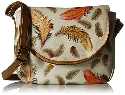 Anuschka Handpainted Leather Flap-Over Convertible,Floating Feathers Ivory