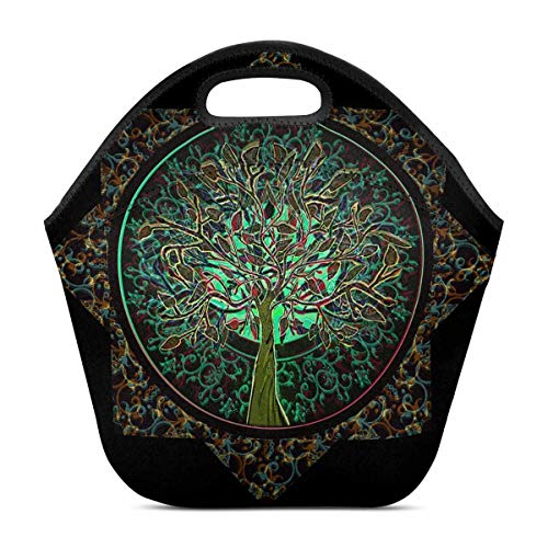 (InterestPrint Neoprene Lunch Bag Life Tree Pattern Insulated Lunchbox Handbag)