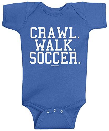 Threadrock Unisex Baby Crawl Walk Soccer Infant Bodysuit 6M Royal Blue