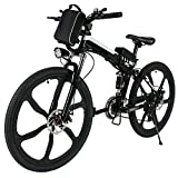 Cheap Anfan 26″ Folding Electric Bike Power Mountain Bicycle with Lithium-Ion Battery (36V 250W), Super Lightweight Alloy 6 Spokes E-Bike (Black)
