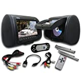 Absolute DPH-980PKGB 9.5-Inch Headrest Pillow Monitor with DVD Player USB/SD/MMC Ready, Pair (Black)