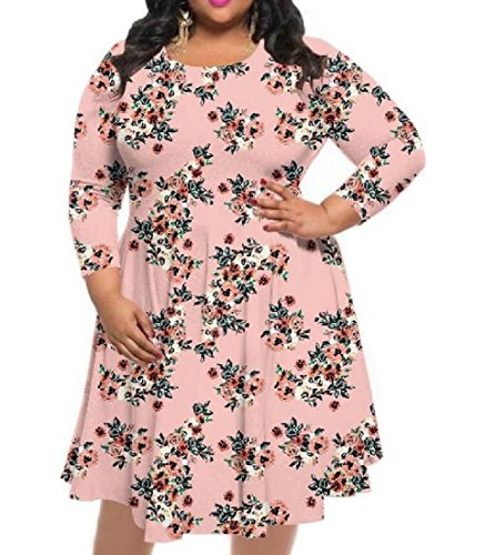 Printing Long Women's Oversized Floral Coolred Crewneck Pattern3 Dress Sleeve EqaPEvg