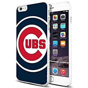 MLB Chicago Cubs Baseball,Cool iPhone 6 Plus (6+ , 5.5 Inch) Smartphone Case Cover Collector iphone TPU Rubber Case White