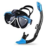 Cadrim Snorkel Set with Tempered Glass & Full-dry Top Snorkel,Anti-fog Diving Mask Panoramic Scuba Mask with Sports Camera Installable , Food-Grade Silicone Mouthpiece for Men and Women