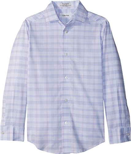 Calvin Klein Big Boys' Long Sleeve Plaid Woven Shirt, Pastel Purple, (Purple Plaid Woven Shirt)