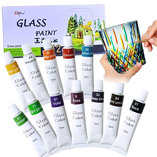 12 Colors Glass Paint Non-Toxic Transparent Stained Glass Paint Supplies for Glass Porcelain Window Wine Bottle Vibrant Colors Painting by Happlee (0.41 fl.oz)