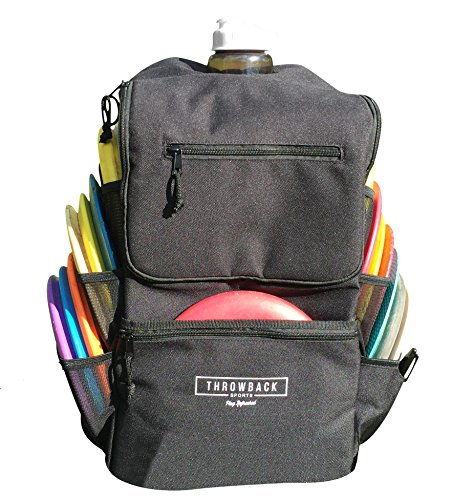 (Throwback All Day Pack - Disc Golf Backpack with Oversize Cooler Built-in - Frisbee Disc Golf Bag with 16 Disc Capacity)