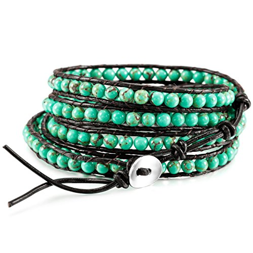 MOWOM Alloy Genuine Leather Bracelet Bangle Cuff Rope Simulated Blue Turquoise Bead 5 Wrap Adjustable - Turquoise Necklace Bead Wrap
