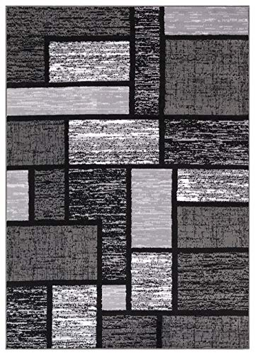 "Princess Collection Geometric Swirl Abstract Area Rug, 5' 2"" x 7' 2"", 809 Black/Grey"