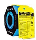 Accuform TAR706 Tags By-The-Roll Inspection and Status Record Tags, Legend''HOT WORK PERMIT'', 6.25'' Length x 3'' Width x 0.010'' Thickness, PF-Cardstock, Black on Yellow (Pack of 100)