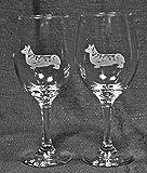 Muddy Creek Reflection Pembroke Corgi Dog Laser Etched Large White Wine Glass Set (2, 20WW)