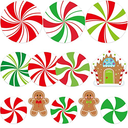 Peppermint Cutouts Gingerman Cutout 12Pcs for Candy Party Decoration Christmas Classroom Supply (Decorations Party Classroom Christmas)