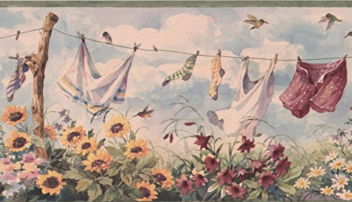 Clothes on Drying Line, Sunflowers Daisies Birds Cloudy Skies Retro Wallpaper Border Vintage Design, Roll 15' x 9