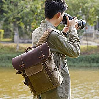 Mens Bag SLR Camera Bag Leisure Travel Bag Batik Canvas Retro Fashion Digital Camera Backpack Double Shoulder Camera Bag High capacity (Color : Khaki)