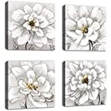 White Flowers Wall Art for Bedroom Bathroom Wall Decor Modern Blossom Canvas Art Living Room Decoration Modern Artwork Canvas Picture Contemporary Wall Art for Home Office Decor 12