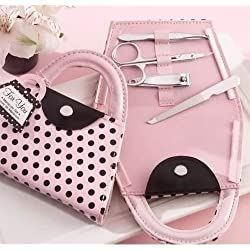 XJG Fashion Pink Polka Dot Purse Manicure Set Bridesmaid Christmas Wedding Gifts Pink Polka Purse Handbag Shaped Manicure (Size: 1)