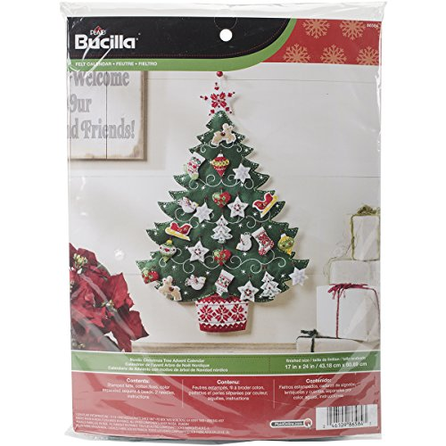 Bucilla Felt Applique Advent Calendar Kit, 17 by 24-Inch, 86584 Nordic Tree - 24