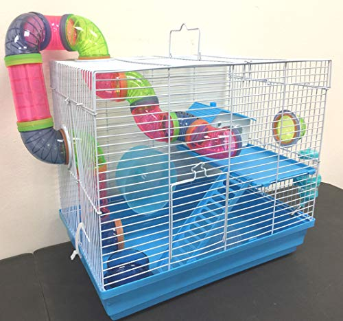 New 2 Levels Hamster Habitat Rodent Gerbil Mouse Mice Rats Animal Cage (Blue)