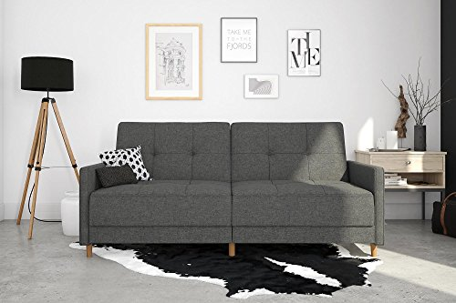 Amazon.com: Grey Linen Coil Convertible Futon Couch, Mid ...