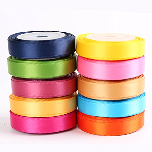 "LaRibbons Solid Color Satin Ribbon Asst. #2-10 Colors 3/8"" X 5 Yard Each Total 50 Yds Per Package by LaRibbons"