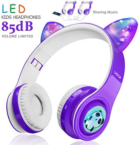 Kids Wireless Bluetooth Headphones-WOICE, LED Flashing Lights, Music Sharing Function, Long Lasting Battery and 85db Volume Limited WOICE Children Bluetooth Headphones for Boys Girls Purple