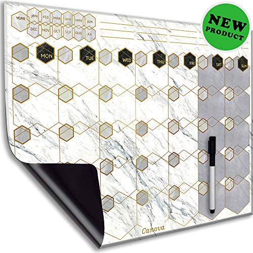 CANOVA Beautiful Marble Design Magnetic Erasable Dry-Erase Fridge/Wall Calendar Monthly Planner Organizer for Home Office Classroom with Adhesive Bonus Marker with Eraser - Marble Chrome Wall