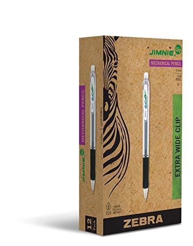 Zebra Jimnie Clip Mechanical Pencil, 0.5mm Lead, Refillable, Translucent/Black - Pencil Pen Jimnie Mechanical Eraser