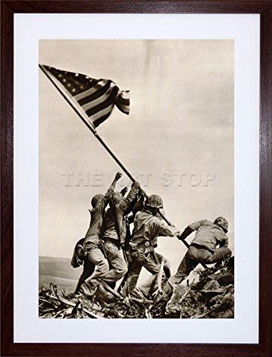 - WAR WWII IWO JIMA Stars Stripes Flag Propaganda Art Frame Print Picture F12X1916