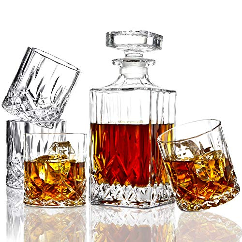 ELIDOMC 5PC Italian Crafted Crystal Whiskey Decanter & Whiskey Glasses Set, Crystal Decanter Set With 4 Whiskey Glasses, 100% Lead Free Whiskey Glass Set (Tall Crystal Decanter)