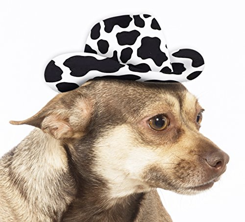 [Rubie's Cow Print Cowboy Hat Dog Costume] (Rodeo Cowboy Dog Costume)