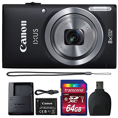 Canon IXUS 185 / ELPH 180 20MP Black Compact Digital Camera with 64GB SDHC Memory Card and Reader
