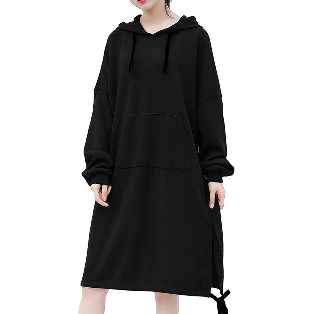 Shakers123 Dresses Women Casual Long Sleeve Solid Bodycon Sweatshirt Slim Hoodie Pullover Dress Knee-Length with Pockets