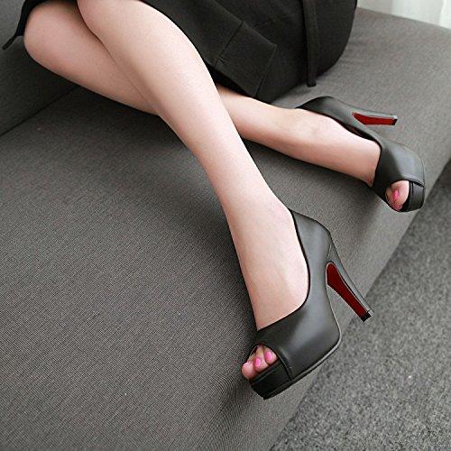 PPFME Femmes Chaussures D'été Femmes Bloc Sandales à Talons Hauts D'été Chaussures Romaines Slip-On Sandales Peep Toe Black WtYA2