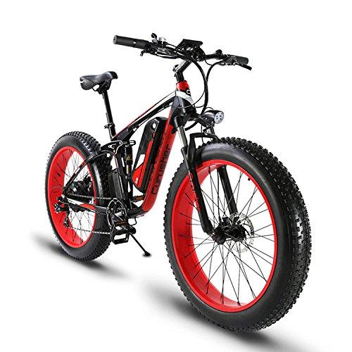 Cyrusher XF800 ファットバイク アシスト自転車 17×26インチ マウンテンバイク1000W 48V13An アルミフレーム FATBIKE迫力の極太タイヤ スノーホイール B07DW4BTLV red red