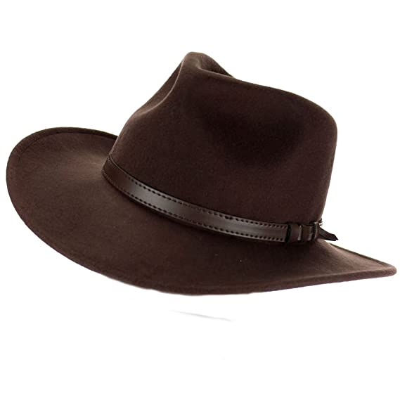 29cd4913ad647 Brown Fedora Hat with Faux Leather Band (59cm)  Amazon.co.uk  Clothing