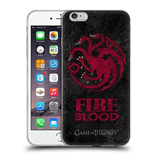 Officiel HBO Game Of Thrones Targaryen Symboles Affligés Sombres Étui Coque en Gel molle pour Apple iPhone 6 Plus / 6s Plus