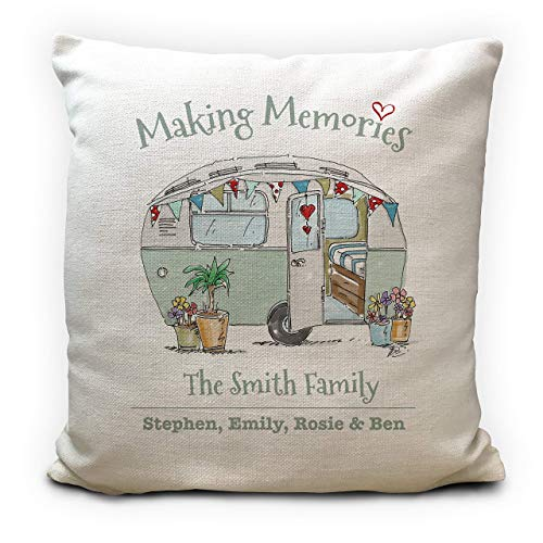 Personalised-Caravan-Camping-Cushion-Pillow-Cover-Wedding-Gift-Making-Memories-Family-Holiday-Vintage-Caravan-Home-Decor-40cm-16-inches