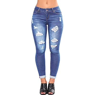 ZHUO YA QI Women's Jeans Destroyed Ripped Distressed Hips Skinny Jeans at Women's Jeans store