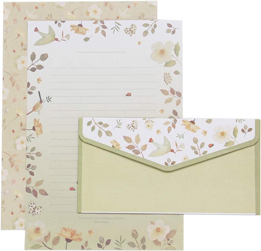 09 21cm * 14cm Papier Analysisty Kreative Briefpapier-Umschl/äge Geschenke niedliches Cartoon-Briefkopf Blumenmuster ein Set mehrfarbig