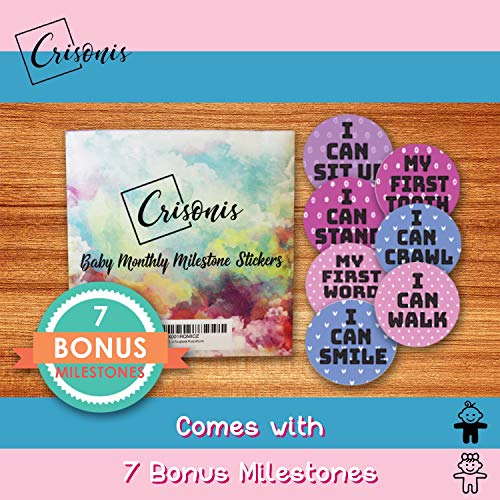 Baby Monthly Milestone Stickers (20 Pack) Birth to 12 Months + 7 Bonus Milestone Achievement Stickers for Onesie Belly Photos or Scrapbook Photo Albums