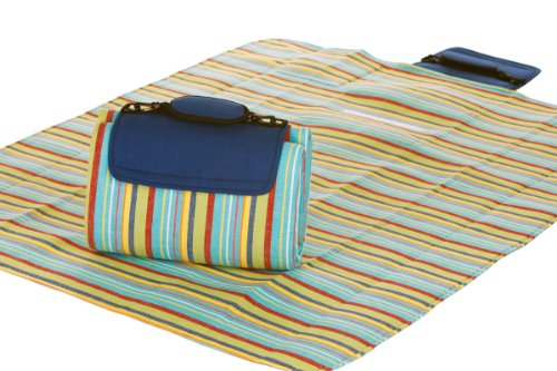 Picnic Plus Mega Mat 100% Waterproof Padded Picnic Blanket Beach Mat Camping Mat Outdoor Blanket Play Mat, Seats 2-3 Persons Plus Gear Opens to 48