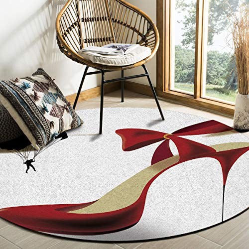 - Round Rug, Art Deco Non-Slip Machine Washable Indoor Area Rug Mat Living Room Bedroom Study Children Playroom Super Soft Carpet Floor Mat 3 Feet Diameter,Custom Red High Heel Sexy Print