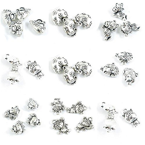 30 Pieces Antique Silver Tone Jewelry Making Charms Chinese Zodiac Tiger Ox Cow Plum Pig Piggy Chicken Horse Mouse ()