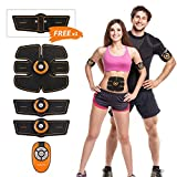 Muscle Toner, HOMPO Abdominal Toning Belt, Abs Trainer Wireless Body Fitness Training Gear for Abdomen/Arm/Leg Workout Home/Office