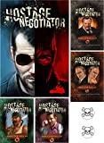 BUNDLE of Hostage Negotiator Game plus Abductor Expansion Packs 1 through 4 plus Two Skull Pin Back Buttons