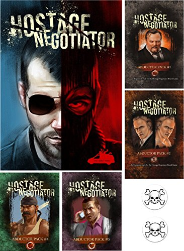 BUNDLE of Hostage Negotiator Game plus Abductor Expansion Packs 1 through 4 plus Two Skull Pin Back Buttons by Hostage Negotiator