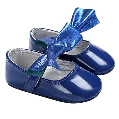 Dainzuy Newborn Infant Kids Girls Bowknot Sole Crib Toddler Shoes (12~18 Month US:4, Blue) For Sale