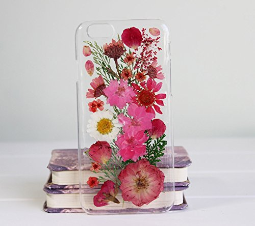 Rebbygena Case and Covers for iPhone 6s Plus, iPhone 6 Plus Handmade Flower Real Pressed Flowers Phone Case for iPhone6 Plus 5.5 inch (Real Apple)